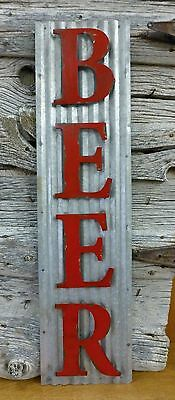 """40"""" TALL VINTAGE-STYLE CORRUGATED INDUSTRIAL METAL BEER SIGN bar cafe man cave"""