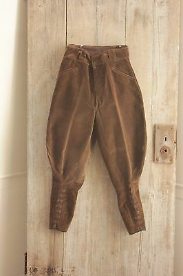 Vintage trousers French pants Riding Equestrian brown corduroy 27 inch waist