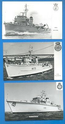 Royal Navy Minesweepers.3 Postcards.hms Wilton,pollington & Atherstone