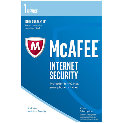 McAfee Internet Security 2018 [Key Code], Single Device, PC Mac Android, FAST