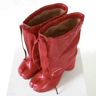 19dffbb0be6 MAISON MARTIN MARGIELA split toe red leather high heel shoes tabi boots 38  NEW