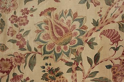 Antique linen French Indienne curtain c1890 STUNNING drape muted tones fabric
