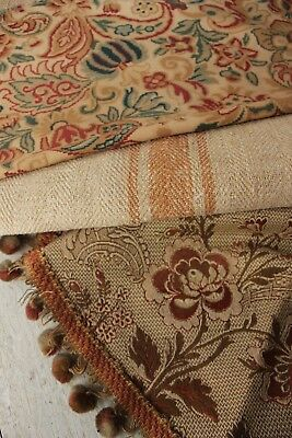 Antique French fabric vintage material PROJECT scraps patchwork old fabric