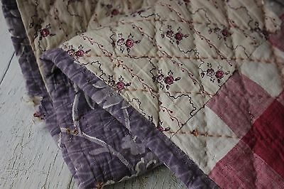Fabric Antique French printed cotton 18th century + 1820 purple quilted textile