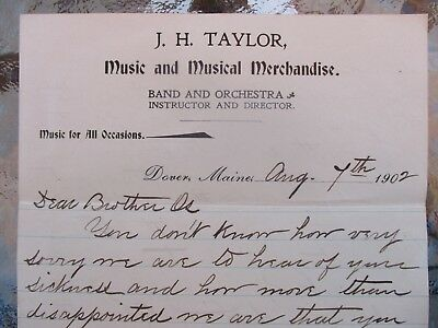 1902 Musical Band Instruments,Instructor of Dover,Maine J.H.Taylor signed letter