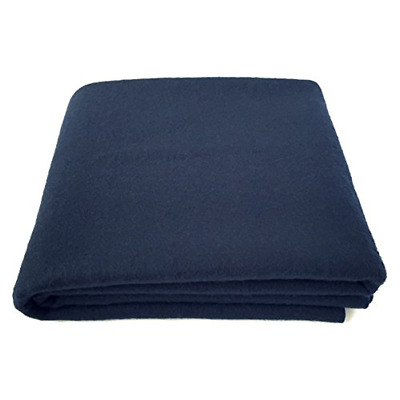 "Blanket 100% Wool Navy Blue Warm Heavy 5.5lbs Large Washable 66""x90"" Camping"
