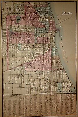 Vintage 1880 CHICAGO, ILLINOIS STREET MAP Old Antique Original Atlas Map 18