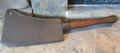 "XL Vintage Antique Meat Clever, 22"" Long, Circa 1900, 10.5"" Blade, rustic"