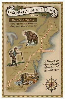The Appalachian Trail Map, Maine to Georgia, Greenwood Lake NY - Modern Postcard