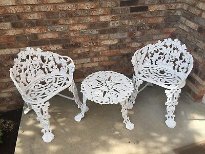 Antique Cast Iron Grape Grapevine Garden Patio Furniture Chairs & Table White