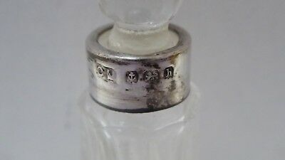 Antique Sterling Silver Rim Perfume Scent Bottle Charles May 1907 Birmingham