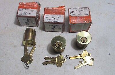 """3 new ILCO Brass Mortise Lock Cylinders 7245FA1-03 KD - 1 1/2"""" long -  Key Diff."""