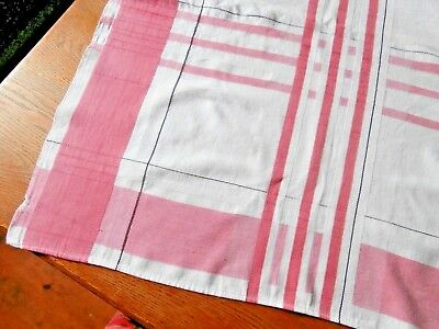 """Vintage pink & white tablecloth woven cotton 50"""" x 63"""" shabby cottage look"""