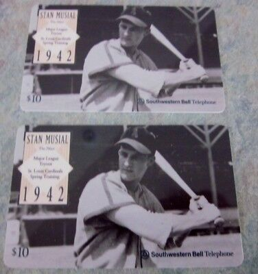 Pair of Stan Musial at Bat 1995 Phone cards by Southwestern Bell