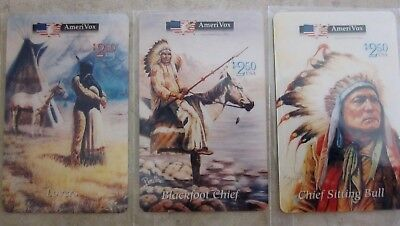 3 Native American Indian cards, Lovers, Blackfoot Chief, Chief Sitting Bull, lot