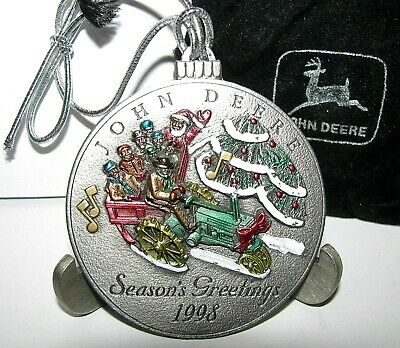 *John Deere G Tractor 1998 Hand Painted Pewter Christmas Ornament 3rd Series jd