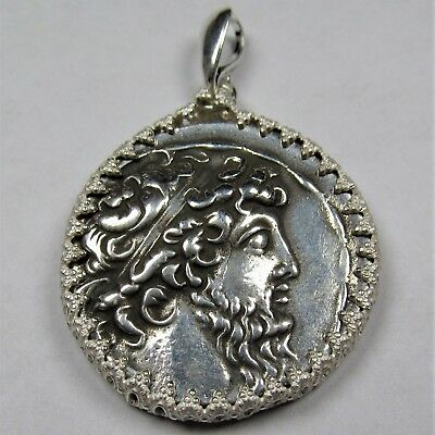 Authentic Ancient Greek Silver Coin Tetradrachm Sterling Silver Pendant #259