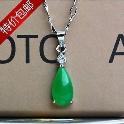 100% Natural Hand-carved Chinese green Jade pendant Insert Silver carving....