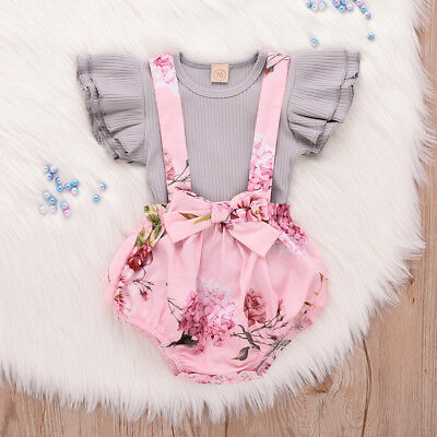 2PC Infant Baby Girl Sleeveless Ruffle Tops Overall Floral Clothes Set B1 Lot