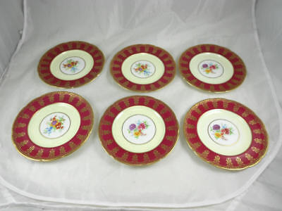 PARAGON Set of 6 Bread and Butter Plates Gold Filigree and Floral on Maroon