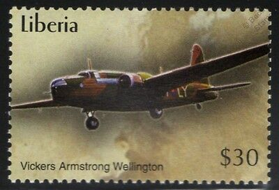 WWII RAF Vickers Armstrong WELLINGTON Bomber Aircraft Stamp (2004 Liberia)