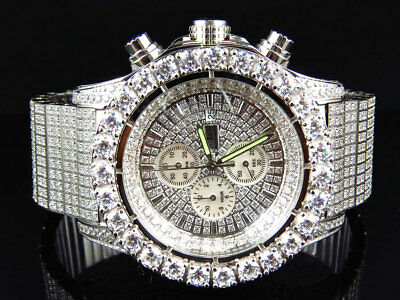 Glacé Acier Inoxydable Imitation Diamant Montre Finition or Balnc 48MM BR-02