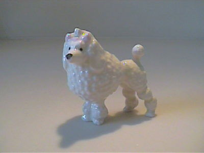 Vintage Hagen Renaker Miniature White Poodle With Pink Bow