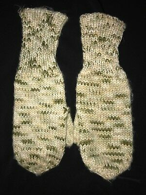 women's one size fits most KNIT WINTER GLOVES MITTENS gold metallic green WARM @