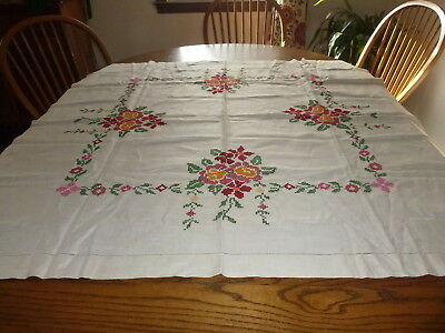 "Vintage Hand Cross Stitched Embroidered Beautiful Tablecloth 49.5"" by 48"""
