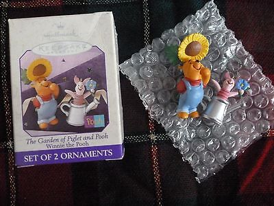 """1998 Hallmark """"The Garden of Piglet and Pooh"""" 2 Ornaments"""