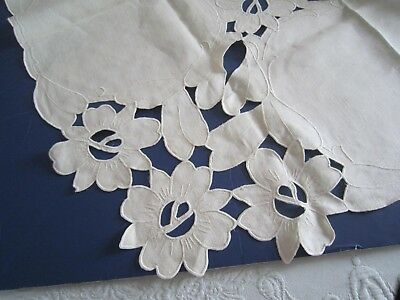 """Beautiful Vtg MADEIRA Ivory Linen 32"""" Sq Hand Embroidered Cutwork TABLECLOTH"""