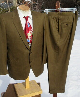 Flashy Vintage 1960s Golden Olive Suit 44S 35x27 Alterable - SOCIETY BRAND Shark