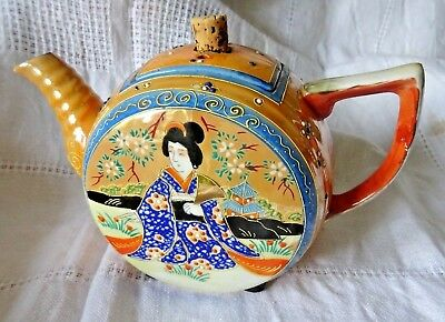 Satsuma Japanese Tea Pot Geisha Hand Painted Gilded Porcelain