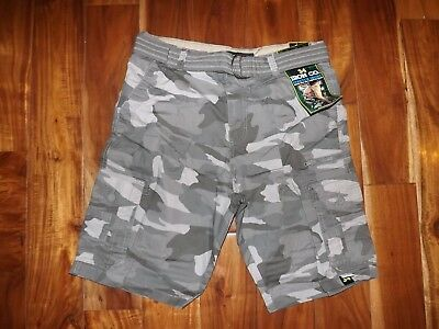 NWT Mens IRON CO Nickel Gray Camo Belted Cargo Shorts 32 34 36 38 40