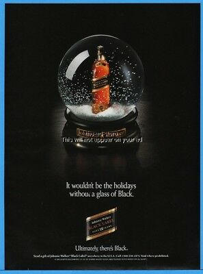 1993 Johnnie Walker Black Label Scotch Whisky Snow Globe Christmas Photo Ad