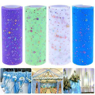 10 Yards Glitter Plum Floral Nylon Tulle Roll Spool DIY Wedding Party Home Craft