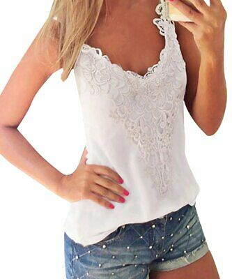 ISASSY Sexy Ladies V-Neck Sleeveless Casual Lace Vest Tops Blouse Top Tank