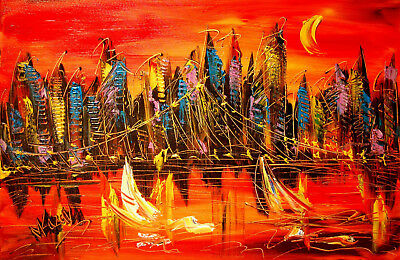 LANDSCAPE ORIGINAL Oil Abstract Large Painting  Palette Knife  Wall Decor