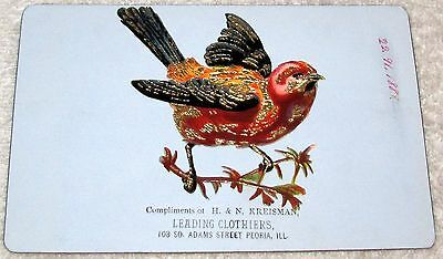 Peoria, Il.--Late 1800's Trade Card--Proof--H. & N. Kreisman Clothiers--91