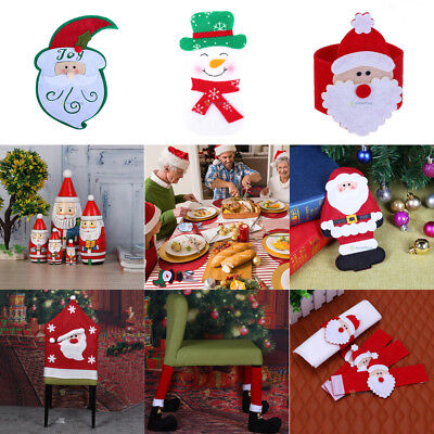 Striking Santa Clause Red Hat Chair Back Cover Christmas Dinner Table Xmas Decor