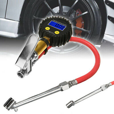 LCD Digital  Air Tire Tyre Inflator High Accurate Pressure Gauge With Dual Chuck