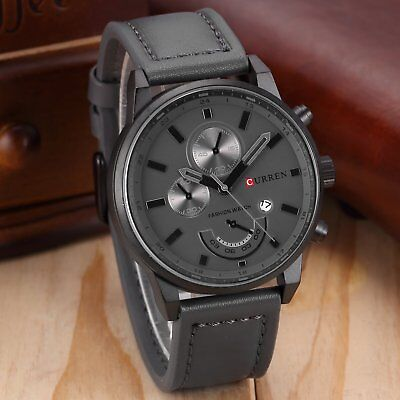 Fashion CURREN Mens Stainless Steel Date Analog Quartz Leather Sport Wrist Watch