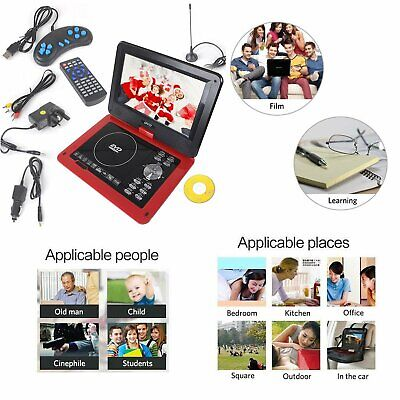 "9.8"" Inch Portable DVD Player 270° Swivel Screen In Car Charger USB Kids Game CD"