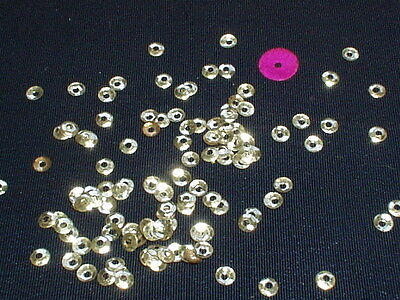 RARE ANTIQUE SILVER-TONE METAL TEENY FRENCH FLUTED SEQUINS 2mm