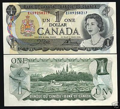Canada 1 Dollar P85 C 1973 Young Queen Ship Unc N America Money Bill Bank Note
