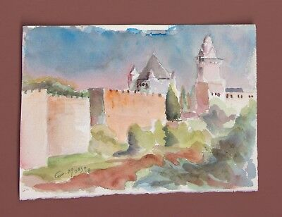 """ORIGINAL Watercolor Painting-The Holy Dormition-Jerusalem 8X11""""by Israeli artist"""