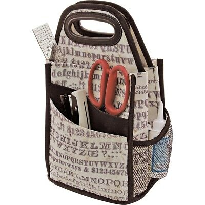 "Tim Holtz Storage Studios Typography Spinning Craft Tote-7.25""x7.25""x15.75"""