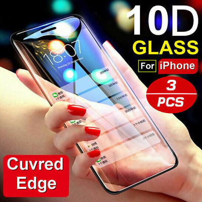 For iPhone X XS Max XR 8 + Tempered Glass Screen Protector 10D Full Cover Curved