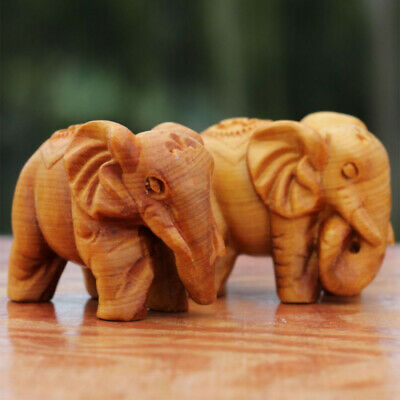 Lucky Thuja Elephant Natural Carved Statue Animal Elephant Ornament  67*45*35mm