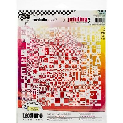 Carabelle Studio Art Printing Square Rubber Texture Plate-letters On A